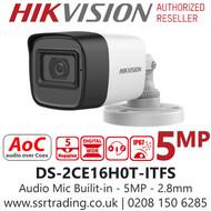 Hikvision 5MP 2.8mm Lens Built-in Mic AoC 30m IR Range EXIR Bullet Camera DS-2CE16H0T-ITFS