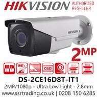 Hikvision 2MP 2.8mm Lens Ultra Low Light 30m IR Range EXIR Bullet Camera DS-2CE16D8T-IT1