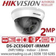 Hikvision 2MP 2.8mm Lens Indoor 20m IR Range EXIR Dome Camera DS-2CE56D0T-IRMMF