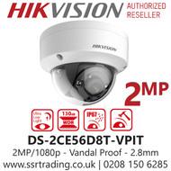 Hikvision 2MP 2.8mm Lens 20m IR Range EXIR Ultra Low Light Vandal Indoor Dome Camera DS-2CE56D8T-VPIT