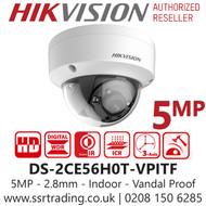 Hikvision 5MP 2.8mm Lens 20m IR Range EXIR Indoor Vandal Dome Camera DS-2CE56H0T-VPITF