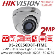 Hikvision 2MP 3.6mm Lens PoC Ultra Low Light 20m IR Range EXIR Turret Camera DS-2CE56D8T-ITME