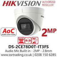 Hikvision 2MP 2.8mm Lens Built-in Mic AoC 40m IR Range EXIR Turret Camera DS-2CE78D0T-IT3FS