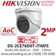 Hikvision 2MP 2.8mm Lens Built-in Mic AoC 30m IR Range EXIR Turret Camera DS-2CE76D0T-ITMFS