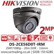 Hikvision 2MP 3.6mm Lens 20m IR Range EXIR Turret Camera in Grey DS-2CE56D0T-IRM/Grey