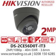 Hikvision 2MP 3.6mm Lens 40m IR Range EXIR Turret Camera in Grey DS-2CE56D0T-IT3