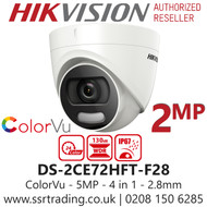 Hikvision 2MP 2.8mm Lens ColorVu 20m White Light Range Turret Camera DS-2CE72DFT-F28