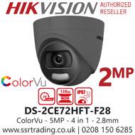 Hikvision 2MP 2.8mm Lens ColorVu 20m White Light Range Grey Turret Camera DS-2CE72DFT-F28/Grey