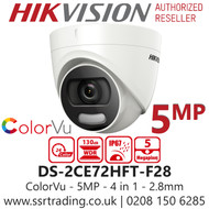 Hikvision 5MP 2.8mm Lens ColorVu 20m White Light Range TurretCamera DS-2CE72HFT-F28