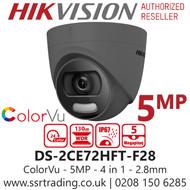 Hikvision 5MP 2.8mm Lens ColorVu 20m White Light Range Grey Turret Camera DS-2CE72HFT-F28/Grey
