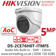 Hikvision 5MP 2.8mm Lens Built-in Mic AoC 30m IR Range EXIR Turret Camera DS-2CE76H0T-ITMFS