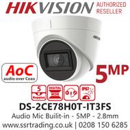 Hikvision 5MP 2.8mm Lens Built-in Mic AoC 40m IR Range EXIR Turret Camera DS-2CE78H0T-IT3FS