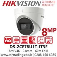 Hikvision 8MP 2.8mm Lens 60m IR Range EXIR Turret Camera DS-2CE78U1T-IT3F
