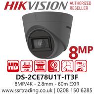 Hikvision 8MP 2.8mm Lens 60m IR Range EXIR Grey Turret Camera DS-2CE78U1T-IT3F/Grey
