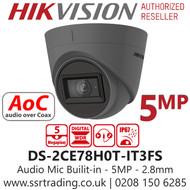 Hikvision 5MP 2.8mm Lens Built-in Mic AoC 40m IR Range EXIR Grey Turret Camera DS-2CE78H0T-IT3FS/Grey