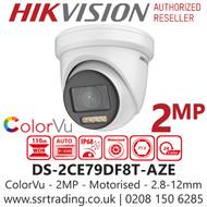 Hikvision 2MP 2.8-12mm Motorized Lens ColorVu PoC 40m White Light Range Turret Camera DS-2CE79DF8T-AZE