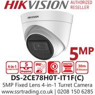 Hikvision 5MP 2.8mm Lens 4-in-1 Turret Camera 30m IR Range EXIR DS-2CE78H0T-IT1F