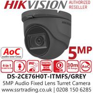 Hikvision 5MP 2.8mm Lens AoC Audio Turret Grey Camera 30m IR Range DS-2CE76H0T-ITMFS