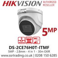 Hikvision 5MP 2.8mm Lens 30m IR Range EXIR Turret Camera DS-2CE76H0T-ITMF
