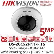 Hikvision 5MP 1.1mm Lens Fisheye 180° Built-in Mic  20m IR Range EXIR Indoor Camera - DS-2CC52H1T-FITS
