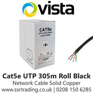 Vista Cat5e Outdoor Network Solid Copper Cable 305m Black