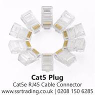 Cat5e Pass Through RJ45  Cable Connector - Cat5 Plug  Single Pieces