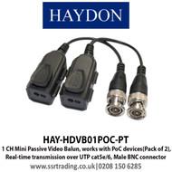 Haydon Passive Video Balun PoC Pair up to 8MP 4K Cat5/6 - HAY-HDVB01POC-PT