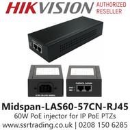 Hikvision 60W PoE injector Single Port POE - Midspan-LAS60-57CN-RJ45
