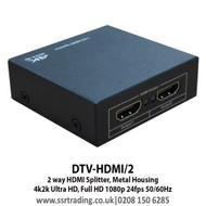 2 Way HDMI Splitter, Metal Housing  4k 2k Ultra HD, Full HD 1080p 24fps 50/60Hz - DTV-HDMI/2