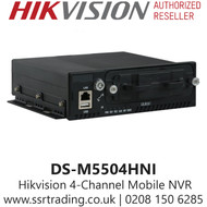 Hikvision 4 Channel Mobile 4Ch NVR with 4 independent network interfaces connectable to 4 IP cameras, Pluggable dummy HDD for HDD with up to 2 TB capacity - DS-M5504HNI