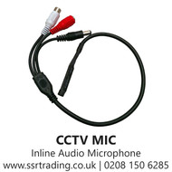 CCTV MIC Camera Inline Audio Microphone with Loop Through Power -1 to 2 Audio Power cable