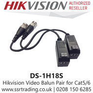 Hikvision Video Balun - Set of 2 - use with Cat5/Cat6 Cables - DS-1H18S
