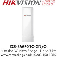 Hikvision Wireless Bridge, Up to 3 km wireless transmission  distance, 150 Mbps 802.11n wireless, Point-to-Point - DS-3WF01C-2N/O