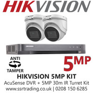 Hikvision 5MP Kit - 4CH DVR With 2x Anti Tamper Screw Turret Cameras