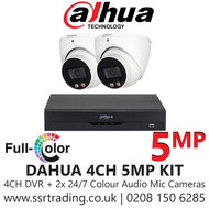 Dahua 5MP Kit - 4CH DVR With 2x Colour Night Vision Built-in Mic Turret Cameras