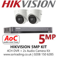 Hikvision 5MP Kit - 4CH DVR with 2x Audio Turret Cameras