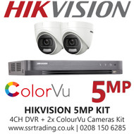 Hikvision 5MP Kit - 4CH DVR With 2x ColorVu Turret Cameras