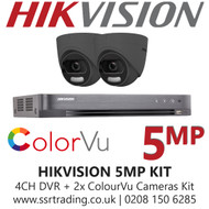 Hikvision 5MP Kit - 4CH DVR With 2x Grey ColorVu Turret Cameras