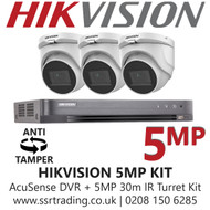 Hikvision 5MP Kit - 4CH DVR With 3x Anti Tamper Screw Turret Cameras
