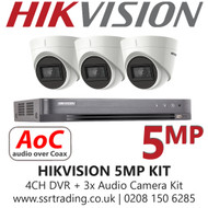 Hikvision 5MP Kit - 4CH DVR With 3x Audio Turret Cameras