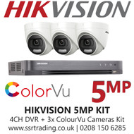 Hikvision 5MP Kit - 4CH DVR With 3x ColorVu Turret Cameras