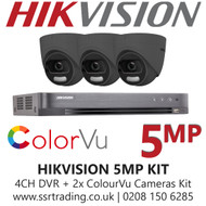 Hikvision 5MP Kit - 4CH DVR With 3x Grey ColorVu Turret Cameras