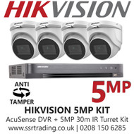 Hikvision 5MP Kit - 4CH DVR With 4x Anti Tamper Screw Turret Cameras