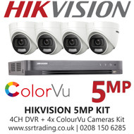 Hikvision 5MP Kit - 4CH DVR With 4x ColorVu Turret Cameras