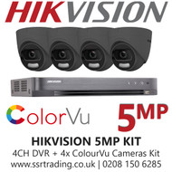 Hikvision 5MP Kit - 4CH DVR With 4x Grey ColorVu Turret Cameras