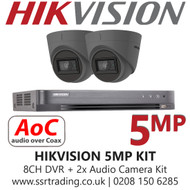 Hikvision 5MP Kit - 8CH DVR With 2x Grey Audio Turret Cameras