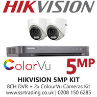 Hikvision 5MP Kit - 8CH DVR With 2x ColorVu Turret Cameras