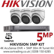 Hikvision 5MP Kit - 8CH DVR With 3x Anti Tamper Screw Turret Cameras