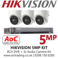 Hikvision 5MP Kit - 8CH DVR With 3x Audio Turret Cameras