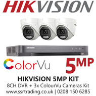 Hikvision 5MP Kit - 8CH DVR With 3x ColorVu Turret Cameras